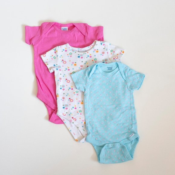 Set of 3 Baby Girl Onesies Blue Pink White Floral